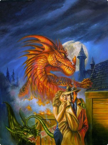 Cover illustration by Bob Eggleton for the anthology The Dragon Done It.