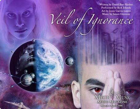 An illustration by Jesus Garcia Lopez for David Barr Kirtley's short story Veil of Ignorance. The illustration depicts several faces superimposed on and around a planet floating in outer space.