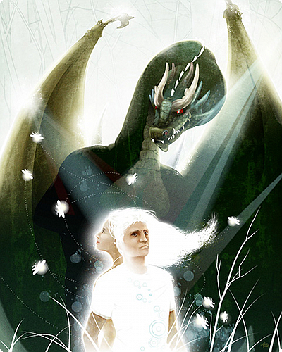 An illustration by Huan Tran of David Barr Kirtley's short story Blood of Virgins. This illustration originally appeared in the October 2006 issue of Realms of Fantasy magazine. The illustration depicts a sinister-looking dragon looming over a young man and woman dressed all in white.