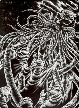 An illustration by Allen Koszowski of David Barr Kirtley's short story The Disciple. This illustration originally appeared in the Summer 2002 issue of Weird Tales magazine. The illustration depicts a number of human figures wearing hooded robes who are eagerly flying up toward a gigantic, monstrous head that has a beard of tentacles.